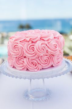 Pink rosette cake // Breathtaking Destination Wedding in California | Images by Sara Jordan Photography