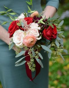 Fall wedding bouquet idea - ivory, red + burgundy flower bouquet  with greenery {Sarah Whitmeyer Photography}
