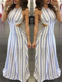 Smmer Printed Strappy Backless Maxi Dress 7163286a3