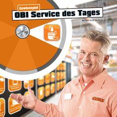 Jetzt jeden Tag den 'OBI Service des Tages' am Glücksrad drehen und mit etwas Glück eine OBI Geschenkkarte gewinnen.