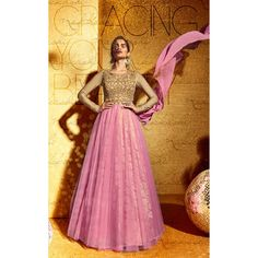 Pink and Beige Net Party Wear #Anarkali Suits With Dupatta- $70.84