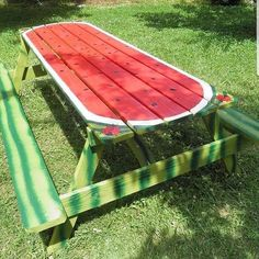ø 7250 Landscaping Ideas & Landscape Designs - Backyard Landscaping Ideas Pictures - Home Garden, Front Yard Landscape Designing Ideas ø Painted Picnic Tables, Painted Chairs, Hand Painted Furniture, Watermelon Painting, Diy Wood Bench, Outdoor Fun, Outdoor Decor, Lakeside Living, Garden Whimsy
