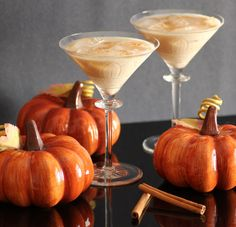 Pumpkin Pie Martini 1 oz. Bailey's Irish Cream 1 oz. Amaretto ½ oz. Goldschlager 1 oz. half and half cream Dash of cloves Dash of nutmeg Cinnamon for garnish  // Place all the ingredients except the cinnamon in a cocktail shaker over ice. Shake 12 times. Pour over ice in martini glasses and sprinkle with cinnamon.