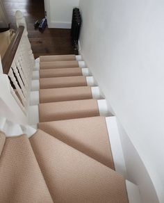 Beige Carpet Installation To Stairs In South London Residence