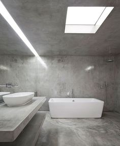 These days concrete as a material is very popular and modern. This material is often used in interior design. This time we present you bathroom designs Bathroom Wall Decor, Budget Bathroom, Bathroom Interior, Modern Bathroom, Small Bathroom, Bathroom Ideas, White Bathroom, Light Bathroom, Bath Light