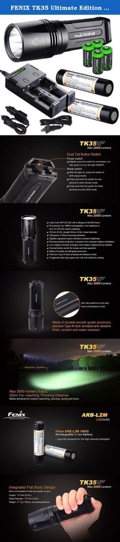 FENIX TK35 Ultimate Edition UE 2000 Lumen LED Tactical Flashlight with 2 X Fenix 18650 Li-ion rechargeable batteries, 4 X EdisonBright CR123A Lithium batteries, Charger bundle. Product Description This is the new 2015 Edition of the Fenix TK35 Ultimate Edtion. This upgraded flashlight integrates exquisite craftsmanship and high performance. With the latest Cree XHP 50 LED, it delivers a maximum output of 2000 Lumens, a maximum throw distance of 1050 feet, five brightness levels plus…