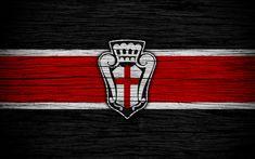 Indir duvar kağıdı FC Pro Vercelli 1892, Serie B, 4k, futbol, ahşap doku, siyah ve kırmızı çizgiler, İtalyan Futbol Kulübü, FC Pro Vercelli, logo, amblem, Vercelli, Italy