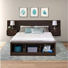 diy Bed Frame floating - Prepac Series 9 Designer Platform Storage Bed with Floating Headboard in Espresso Floating Headboard, Headboard With Shelves, Bed With Shelves, Floating Bed Frame, Bookcase Headboard, Wood Headboard, Making Shelves, Black Headboard, Modern Headboard
