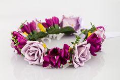 Kwiatowy wianek ślubny z fioletowych róż - cudawiankiflowers - Kwiaty do włosów