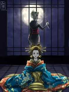 Sun and moon of Yoshiwara by Jeannette11 on DeviantArt Me Me Me Anime, Anime Kimono, Anime Manga, Fairy Tail, Okikagu, Fanfiction, Anime Couples, Chibi, Fan Art