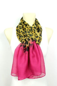Leopard Print Scarf - Brown & Pink Leopard Scarf - Animal Print Scarf - Women Fashion Accessories - Leopard Fabric Scarf - Gift Idea for her
