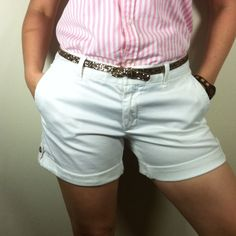 White Banana Republic Shorts! These white shorts are super cute and perfect for this spring and summer! I paired it with a pink and white stripe sleeveless polo top! They are 12 1/4 inch in length, in good condition and very comfortable! 98% cotton, 2% spandex. Banana Republic Shorts