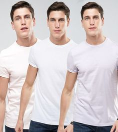 ASOS 3 Pack T-Shirt With Roll Sleeve SAVE - Multi
