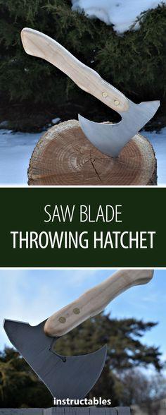 Saw Blade Throwing Hatchet #woodworking #metalworking #upcycle
