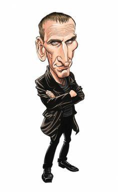 A close-up from the limited edition print of 9 Christopher Eccleston by Tom Richmond of Mad magazine.