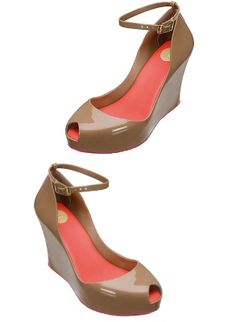 Patchuli Wedges by Melissa Shoes - $145.00 - Tan + Pink