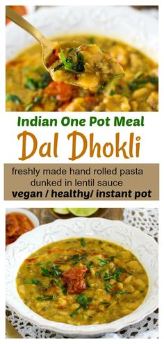 Dal Dhokli Rajasthani style - pressure cooker (Instant Pot) method - This vegan Indian recipe is extremely popular in India and is a great vegan Jain recipe. You will definitely love this! Beef Soup Recipes, Lentil Recipes, Raw Vegan Recipes, Cooking Recipes, Healthy Recipes, Beans Recipes, Garlic Recipes, Vegan Foods, Free Recipes