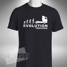Trucker Evolution T-Shirt Mens Lorry Scania V8 Truck Driver Man Magnum Volvo erf