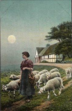 A shepherdess at evening