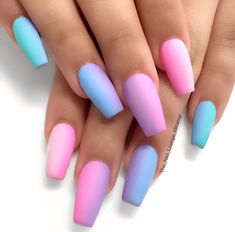 Looking for a creative and trendy summer nail art designs? Are you tired of the same boring nail colors ideas and nail art? Summer is here and that means bonfires on the beach, swimming, and late summer nights. This baby blue acrylic nails is neon acryli Neon Acrylic Nails, Pastel Nail Art, Gradient Nails, Gel Nails, Rainbow Nails, Tapered Square Nails, Nails Plus, Cotton Candy Nails, Lavender Nails