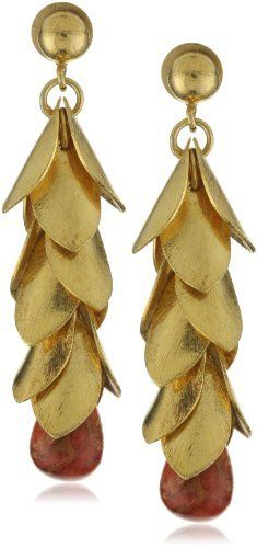 """Zariin """"The Falling Leaves"""" Coral Drop Gold Earrings Zariin. $140.00. Total weight of Dangle-Earrings is 27 grams. Made in India. 22k gold-plated earrings with textured golden leaves dangling down with a coral stone drop. Semi- precious stones are naturally occuring and there can be a slight variation in size and color of stones"""