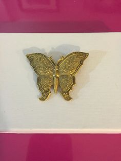 Gold Tone Large Butterfly Brooch