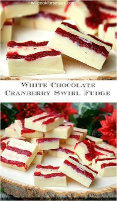 White Chocolate Cranberry Swirl Fudge from willcookforsmiles.com