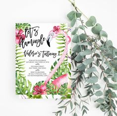 Let's Flamingle Birthday Party Invitation, Bohemian, Flowers, 1st Birthday, Flamingo First Birthday Party Invite, Printable Invite, 616 - Spotted Gum Design - Etsy