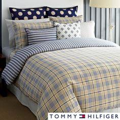 Tommy Hilfiger Spectator Plaid 3-piece Cotton Comforter Set and Euro Sham Separates