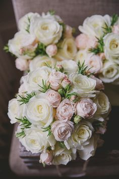 Ivory and blush pink rose wedding bouquet with Matching bridesmaids flowers. | Wedding Flowers at The White Hart, Harrogate