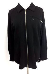 Escada Sport Womens Cardigan Sweater Light Jacket Black Full Zip Knit Sz S #ESCADASport #FullZip