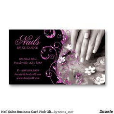 Nail Salon Business Card Pink Glitter