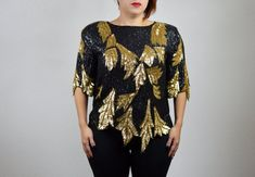 bd490e868fef5a 80 s Vintage Glam Silk Sequin Top Scalloped Leaf Hem Black Gold Cocktail  Party Evening Seperates