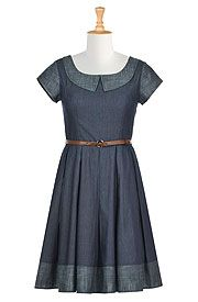 Two tone chambray denim belted dress