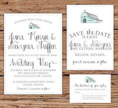 Rustic Barn Wedding Invitation Vintage by OliveJuiceStationery, $35.00