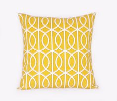 Mustard Yellow Pillow - Geometric Home Decor - Chain - Lattice, 18 inch Pillow, Contemporary, Modern, Geometric Lattice Pillow. $25.00, via Etsy.