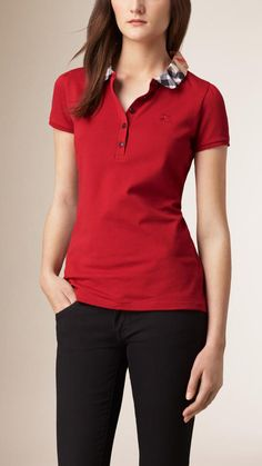 Burberry Brit Check Collar Polo Shirt