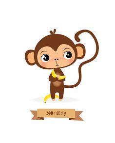 Mono impresión guardería animal Safari mono de por IreneGoughPrints