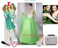 """Spring Green A-line Halter Prom Dress Satin and Organza Beading Floor-length"" by promdress ❤ liked on Polyvore"