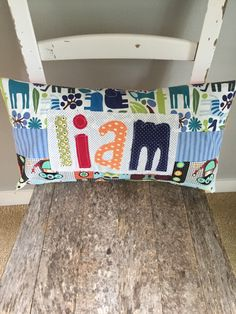 Personalized Name Pillow, Kid's Name Pillow, Made to Order, Custom Design, Applique Name Pillow, Toddler Pillow, Name Pillow, Gift Idea