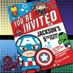 MXYZ Marvel Avengers Birthday Theme Party Invitation by OhWowDesign on Etsy