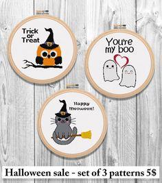 Halloween sale set of 3 Cross Stitch by FantastitchKingdom on Etsy