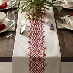 Diy Crafts - This casual, understated table runner accents the table with natural materials and embroidery inspired by Scandinavian folk art. Folk Embroidery, Christmas Embroidery, Hand Embroidery Patterns, Cross Stitch Embroidery, Embroidery Designs, Cross Stitch Borders, Cross Stitch Designs, Cross Stitching, Cross Stitch Patterns