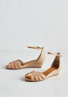 Break Wedge in Beige. Free your style into a whole new world of fashionable bliss simply by buckling into these beige sandals! Tan Leather Sandals, Beige Sandals, Wedge Shoes, Nude Wedges, Flats, Shoes Sandals, Ankle Strap Heels, Ankle Straps, Wedges