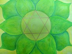 Heart Chakra made with watercolor and Twinkling H2O's