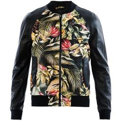 AMI Floral-print and leather bomber jacket ($546) ❤ liked on Polyvore featuring men's fashion, men's clothing, men's outerwear, men's jackets, black, coats & jackets, mens bomber jacket, mens leather jackets, mens floral jacket and mens leather bomber jacket