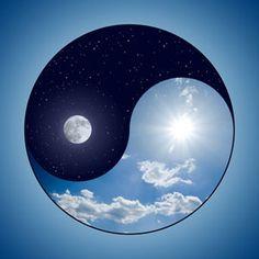 Peace, Balance, & Harmony | Yin & Yang | Clouds | Sky | Moon | Stars | Light Blue | Dark Blue