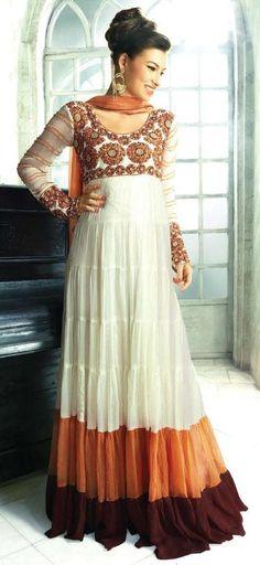 $129.07 White Full Sleeve Georgette Long Anarkali Salwar Kameez 18779
