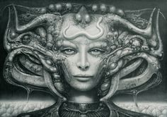 Science fiction fans have been enraptured by H. Giger illustrations since the artist gained nationwide design for bringing a face-hugging, chest-bursting alien to horrifying life. Arte Sci Fi, Arte Alien, Sci Fi Art, Alien Artist, Hr Giger Art, Hr Giger Alien, Arte Horror, Horror Art, Fantasy Kunst