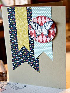 Stamping with Kim: Papillon Potpourri, Stampin Up, Patio Party DSP, butterfly.